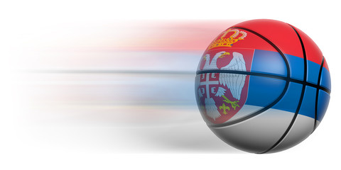 Basketball ball with flag of Serbia in motion isolated