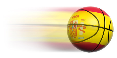 Basketball ball with flag of Spain in motion isolated