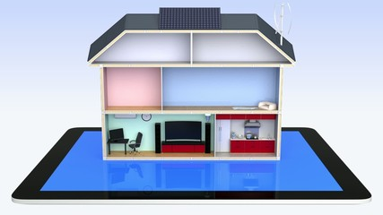 Smart house and tablet PC. Home automation concept