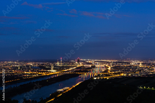 canvas print picture Wien, Panorama in der Nacht