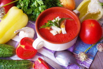 Gazpacho soup with vegetables