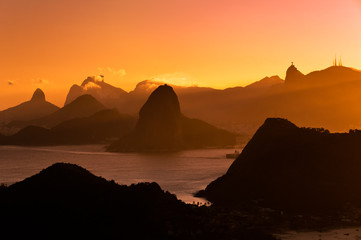 Rio de Janeiro Mountains by Sunset from City Park in Niteroi