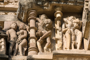 Erotic Temple in Khajuraho. Madhya Pradesh, India.