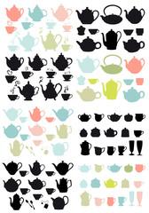 coffee and tea pots and mugs, vector