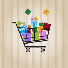 Shopping trolley with gift boxes