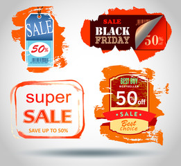 Set of Sale labels, Vector.