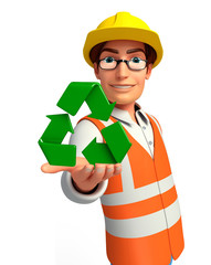 Young worker with recycle icon