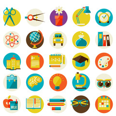 set of flat school icons.