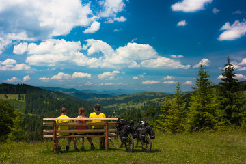 Three bikers looking to tre beautiful valley