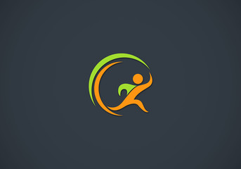 running people vector logo