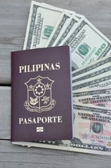 Philippine passport with dollars