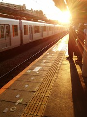 station in the sunset.