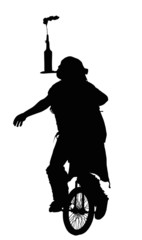 Man Doing Balancing Trick on Unicycle Silhouette