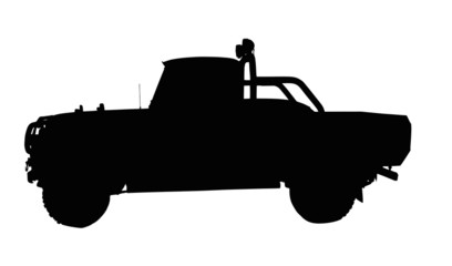 Vintage 4x4 Pick-up Truck Silhouette