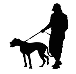 Silhouette of Man Walking His Dog