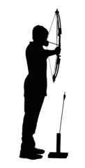 Silhouette of Boy Archer with Bow and Arrow