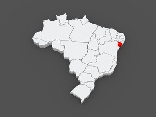 Map of Sergipe. Brazil.