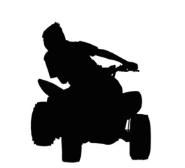 Boy Racing on Quad Bike Silhouette