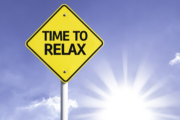 Time to Relax road sign with sun background