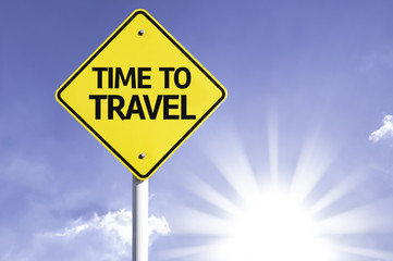 Time to Travel road sign with sun background