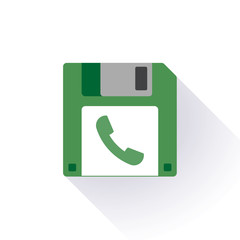 Floppy disc icon with a phone