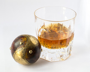 Whisky glass with spherical perfect object, creativity and lifes