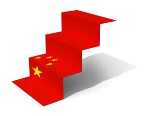 China flag folded as steps