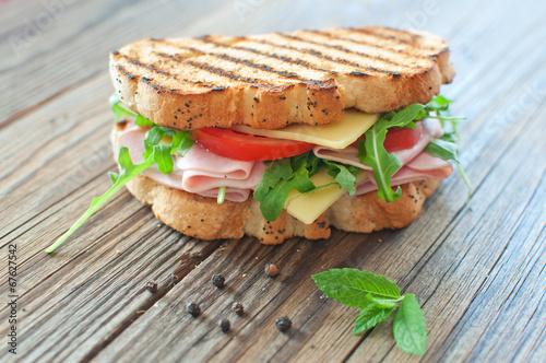 Staande foto Snack Grilled sandwich