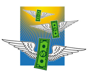 Winged dollar banknotes