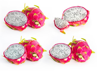 fresh dragon fruit isolated on white background