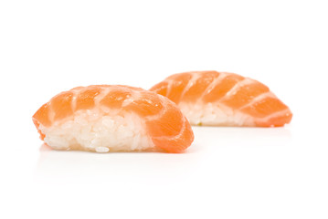 Two Sushi with Salmon isolated on white