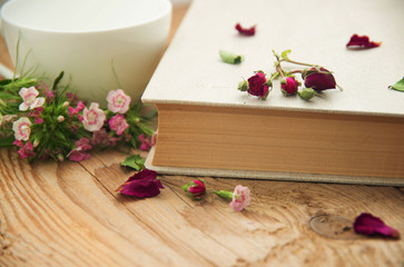 Dry roses and old book. Toned image