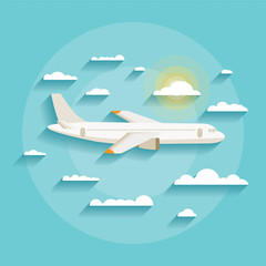 Vector concept of detailed airplane flying through clouds.