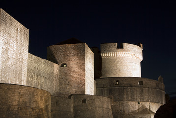 Dubrovnik castle at night in Croatia