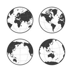 Globe earth vector icon set on white background