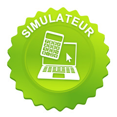 simulateur sur bouton web denté vert