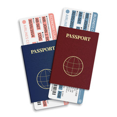 Vector airline tickets with barcode and international passport.