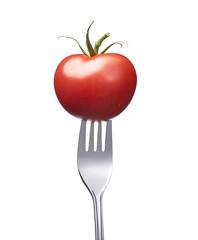 Tomate auf einer Gabel