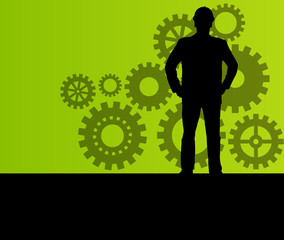 Engineer in front of gear industry vector