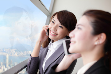 Smile Business woman speaking phone
