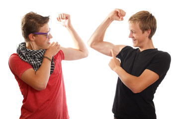 Boys showing off muscles