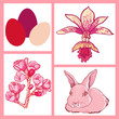 vector set of Easter rabbit, eggs, spring flowers