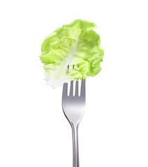 Salatblatt auf einer Gabel