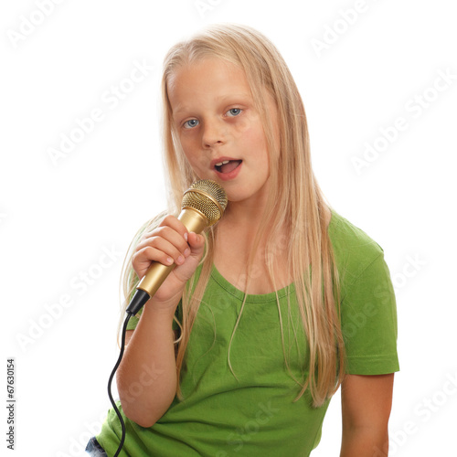 canvas print picture Young girl singer