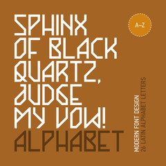 Sphinx of black quartz, judge my vow! Modern font, 26 letters.