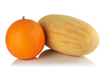 Two ripe melon.