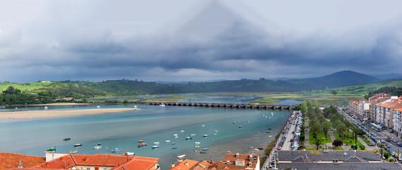 San Vicente de la Barquera village, panorama shot