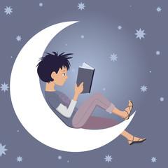 Little kid reading sitting on the Moon