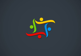 people teamwork diversity vector logo