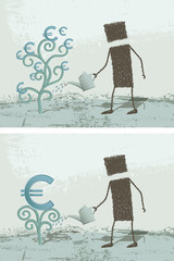 The euro plant. A person watering a plant, which gives money